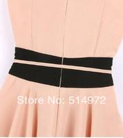 New Arrival Summer Women Fashion STARS LOVES Color Matching Slim Waist Falbala Short Dress Free Shipping