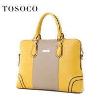 Tosoco women's briefcase handbag 2014 trend commercial handbag ol fashion color block laptop bag
