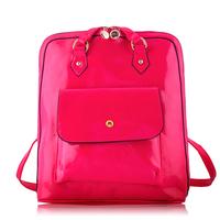 Gold blue butterfly female backpack 2014 preppy style women's japanned leather multifunctional handbag