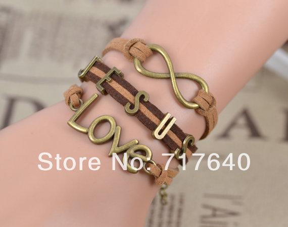 Men's Fashion Love Infinity Christian Jesus Suede Bracelet , 6pcs/lot! Free Shipping! D089(China (Mainland))