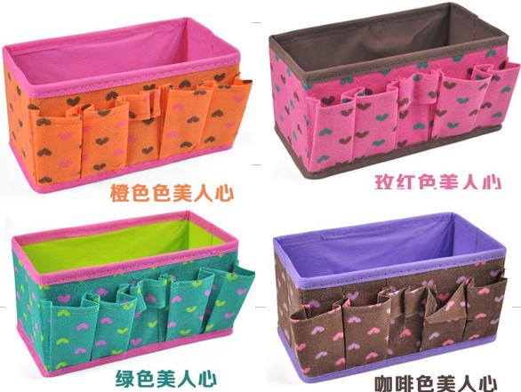 Can choose color peach heart design non-woven Fabric Folding Cosmetics Storage Box Desktop Organizer Case For Jewelry ST172(China (Mainland))