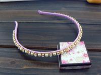 Light purple pearl full rhinestone bride bridesmaid hair bands