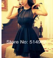 Summer Women Irregular Net Yarn Splicing Sexy Backless Perspective Sleeveless Slim Dress Free Shipping
