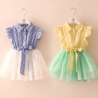 2014 summer patchwork girls clothing baby child small butterfly sleeve one-piece dress