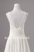 New Fashion Princess V-Neck Court Train With Ruffle Sequins Sleeveless Zipper Back Chiffon Beach 2014 Wedding Dress