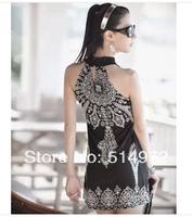 New Women Summer Classic Vintage Collar Exotic Bohemia Retro Totem Sleeveless Dresses 2Pcs/Lot Free Shipping