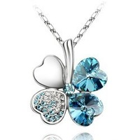 Female crystal fashion necklace four leaf clover necklace