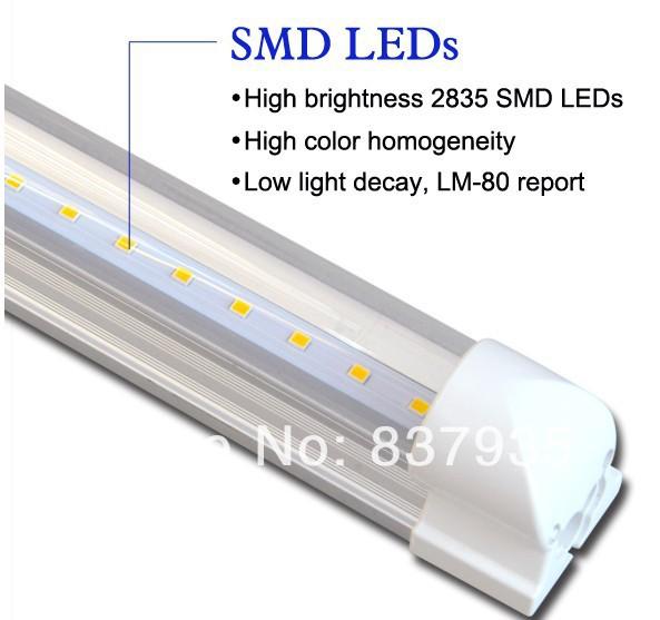 50pcs/lot T8 LED tube light Integrated 18W 120LEDs 1200mm/ 1.2m/ 4ft/ 120cm SMD2835 0.2W 22~24lm/LEDs Aluminum+PC AC85~265V(China (Mainland))