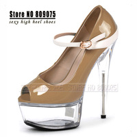 Free Shipping Buckle Strap Platforms High-Heeled Shoes 15cm Crystal Shoes 6 Inch Sexy Clubbing Pole Dancing Shoes Women's Pumps