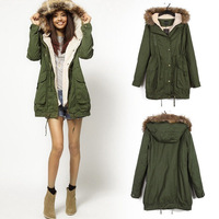 2014 Hooded Parka Coat Women's Cotton-padded Jacket,Fur Collar,Large Long Coat,Thickening Clothing,Army Green Winter Wear