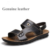 Free shipping slippers for men genuine leather buckle summer slippers sandals flat shoes