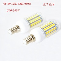 4pc/lot E27 E14 7W LED Bulb 69 LED SMD5050 220-240V Corn Bulb Lamp White / Warm White 360 degree with Cover Free shipping