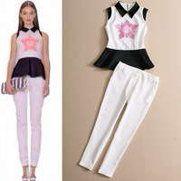 Fashion Pants Women's Set 2014 Spring And Summer 2014 Color Block Decoration Embroidered Top And Trousers Slim Set s786