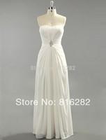 2014 New Fashion Empire Sweetheart Floor-Length Ruffle Chiffon Beach Wedding Dress With Beadwork