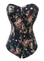 Free Shipping 2014 Pink Blue Flowers Printed Sexy Woman Jeans Corset Bustier Strapless Cheap Denim Corsets New Tops Big Size