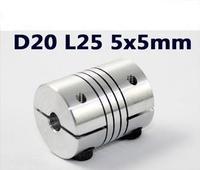 Free ship, Aluminium  5*5 mm CNC Motor Jaw Shaft Coupler 5mm To 5mm Flexible Coupling D20 L25 NEW