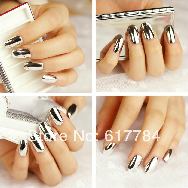 Vente en gros 600 pcs couverture complète de faux ongle faux ongles décorés en métal argenté extension. trousses de maquillage livraison gratuite