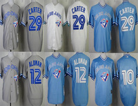 Men's Cheap Baseball Jerseys Toronto Blue Jays #29  Joe Carter/10# Vernon Wells /#12 Roberto Alomar  white throwback jersey
