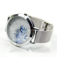Women Lady Fashion Blue Lotus Rhinestone Stainless Steel Mesh Quartz Wrist Watch