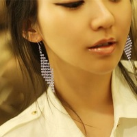Classic hot-selling ! brief fashion all-match rhombus tassel sparkling full rhinestone earrings drop earring
