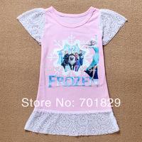 2014 fashion summer children princess dress Frozen Girl Print Dress Brand Elsa Anna Princess Party girls Tutu Dress 6PCS/Lot