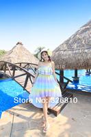 2014 Summer Rainbow Color Chiffon Sleeveless Slash Neck Girl Dress Beach Sexy Dress Novelty Dresses Free Shipping!