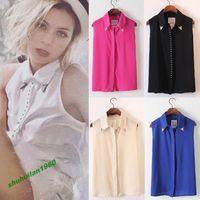 Sexy Women Ladies Rivet Chiffon Sleeveless T-Shirt Blouse Stand Collar Vest Tops Hot Sale