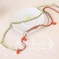 Spring brief double layer acrylic long necklace