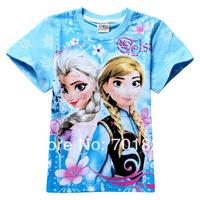 Free Shipping!!!2014 New Arrival Fashion Children T-Shirt Frozen Girl Elsa and Anna Pattern 6PCS/Lot
