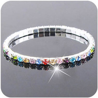 Fashion bling rhinestone elastic multicolour crystal rhinestone full rhinestone bracelet female