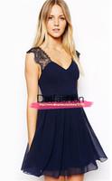 New 2015 Vestidos Summer Women Dress Brand Desigual Fashion Elegant Sexy Party Casual Blue Contrast Lace Backless Chiffon Dress