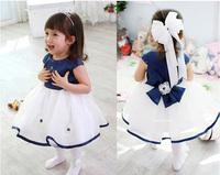 New 2014 kids baby girl dress Children dresses bow belt child princess dresses size 80-110 for girls