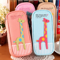 2014 New Korea stationery box large capacity multifunctional brief canvas pencil bags cartoon pencil case vintage free shipping