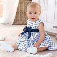 2014 new Baby Girl dress child kids Plaid sleeveless princess dress with bow belt size 80-100 children dresses for kids girls