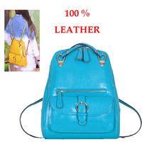 Genuine Leather Women Backpack Kids School Bag For Girls Preppy Style School Backpacks Candy Color Backpack  Women Handbag 2014
