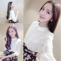 Trend Knitting 2014 Summer New Arrival Women's clothes chiffon Breathable comfort Pure color Half sleeve shirt White Blouses