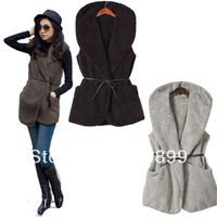 2014 Promotion New Pockets Vest Women Cardigans Newest Womens Royal Warmer Double Warm Casual Hoodie Vest Coat Outwear 3 Colors