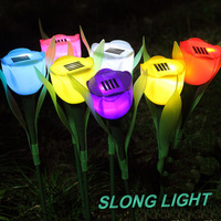 Free Shipping 4pcs Outdoor Yard Garden Path Way Solar Power LED Tulip Red/Yellow/Green/Blue,Landscape Flower Lamp Solar Lights