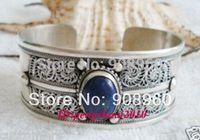 design Christmas Tribal Exquisite Carved Lapis Lazuli Unisex Tibet Silver Bangle Open Bracelet  fashion jewelry