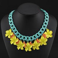 2014 Z Brand Cute Multicolor Flower Charm Pendant Chunky Choker Chains Statement Necklace Women Vintage Necklaces & Pendants