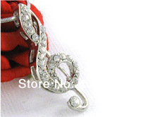 Free shipping 50pcs a lot  alloy rhodium plated music note crystal necklace jewelry
