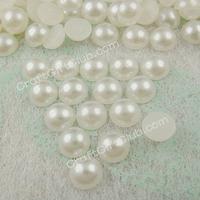 2000 Ivory Pearl Rould Bead Flat Back Wedding Scrapbooking Confetti Nail Art Craft 3mm