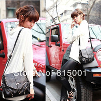 Women Messenger Bags Black Wholesale Price Promotion New 2014 Fashion Women Handbag PU Leather Bag For Women