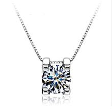 Gennuine 925 Pure Sterling Silver Elegant Simulated Diamond Cubic Zirconia Suqare Pendant Necklace For Women Fashion Jewelry