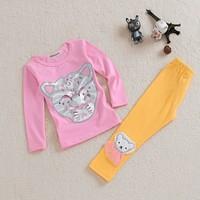 2014 New girl's clothes sets cotton Kids children tiger suit | jacket + pants girls clothing sets kid