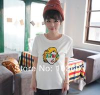 Summer College Style English Letters Monroe Stripes Short-sleeved T-shirts Harajuku Style JAZZ Hip-hop Fashion Women Apparel