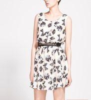 2014 summer new flowers Printe Chiffon Sleeveless Slim Dress women slim casual chiffon party lady dress