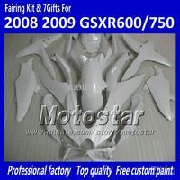 100% Injection molding fairings GSXR 600 750 2008 2009 2010 K8 GSXR600 GSXR750 08 09 10 all glossy white accept custom paint job