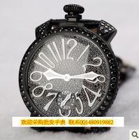 Wooden box full black diamond mantianxing diamond mechanical manual chain big dial watch gaga164g1