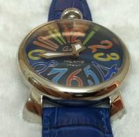 Wooden box women's blue watch the trend of fashion gaga watch cowhide watchband watch 190g 2